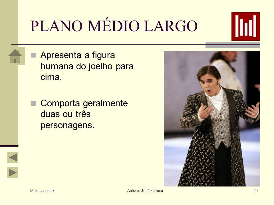 PLANO MÉDIO LARGO Apresenta a figura humana do joelho para cima.