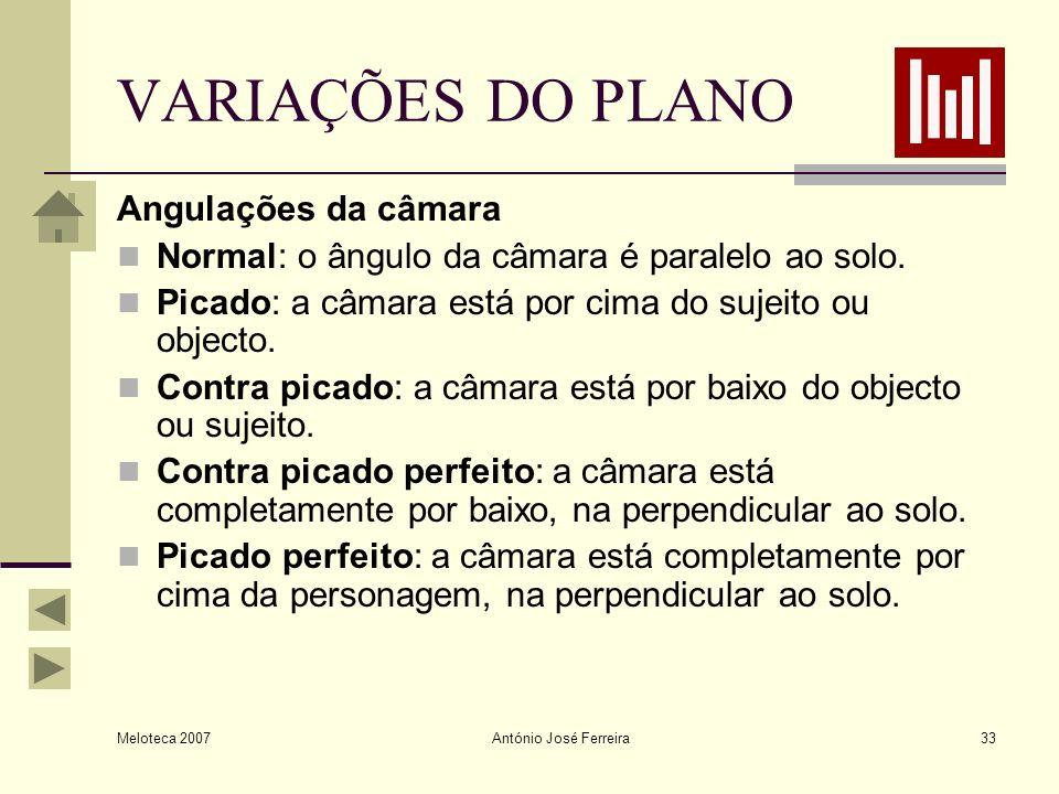 VARIAÇÕES DO PLANO Angulações da câmara