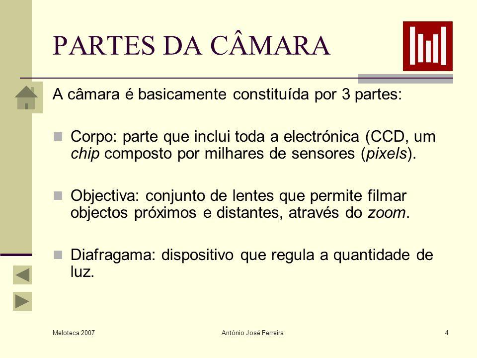 PARTES DA CÂMARA A câmara é basicamente constituída por 3 partes: