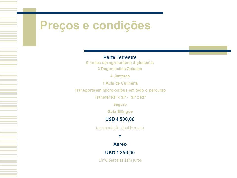 Preços e condições Parte Terrestre U$D 4.500,00