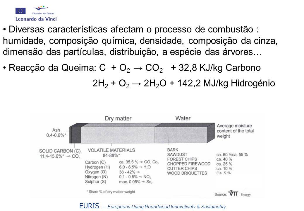 Reacção da Queima: C + O2 → CO2 + 32,8 KJ/kg Carbono