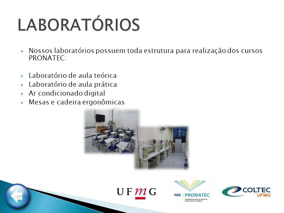 LABORATÓRIOS Nossos laboratórios possuem toda estrutura para realização dos cursos PRONATEC: Laboratório de aula teórica.