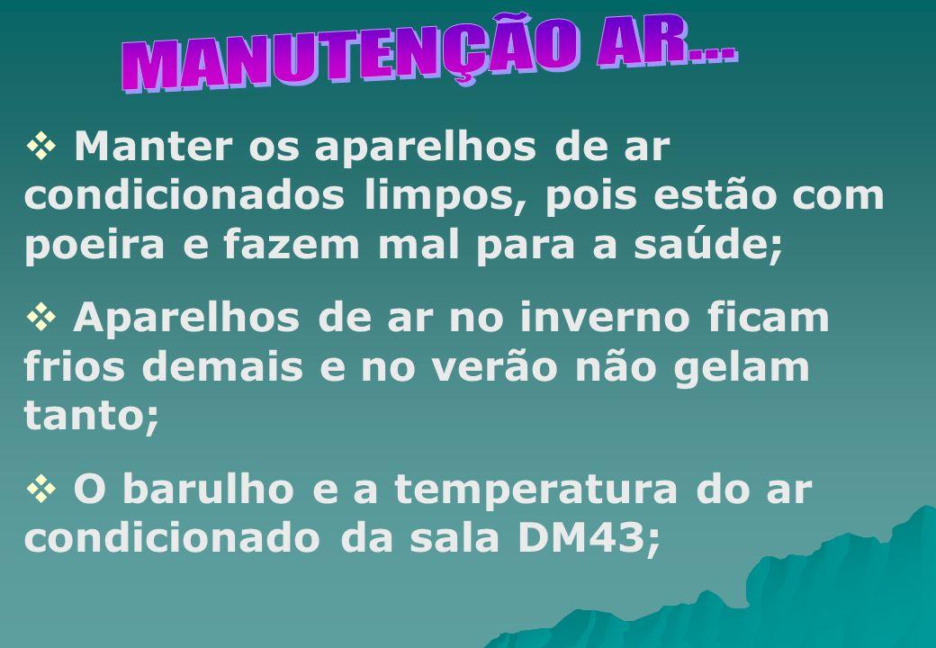 MANUTENÇÃO AR... Manter os aparelhos de ar condicionados limpos, pois estão com poeira e fazem mal para a saúde;
