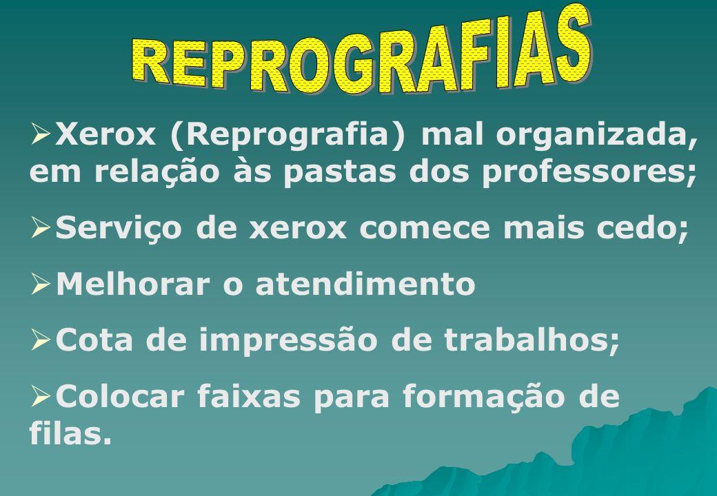 REPROGRAFIAS Xerox (Reprografia) mal organizada, em relação às pastas dos professores; Serviço de xerox comece mais cedo;