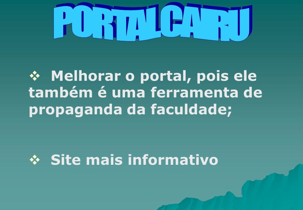 PORTAL CAIRU Melhorar o portal, pois ele também é uma ferramenta de propaganda da faculdade; Site mais informativo.