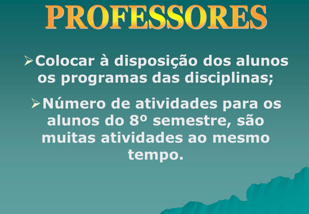 Colocar à disposição dos alunos os programas das disciplinas;