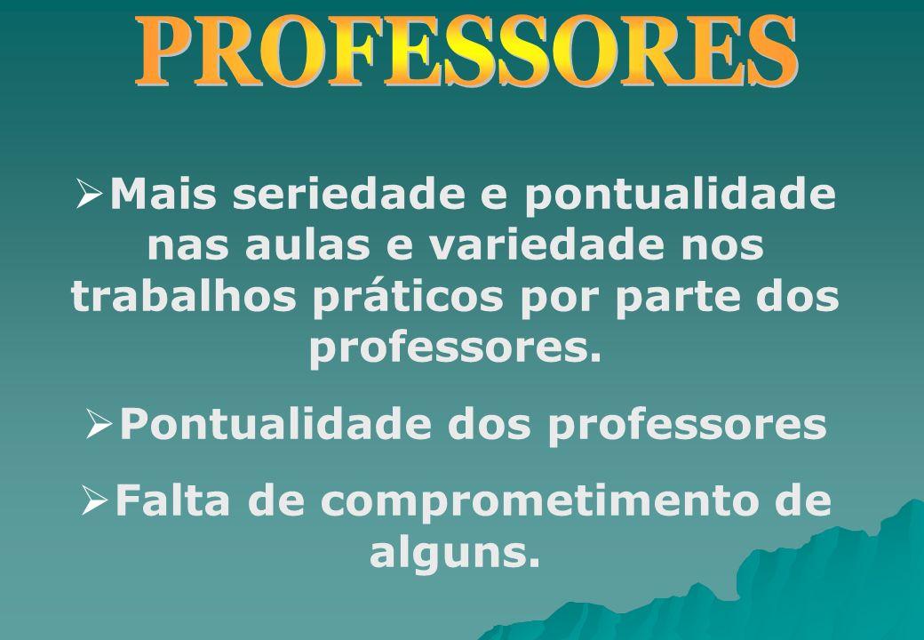 Pontualidade dos professores Falta de comprometimento de alguns.