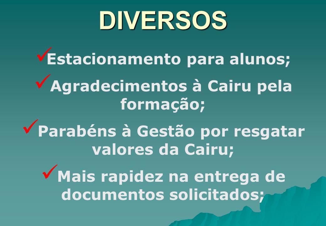 DIVERSOS Estacionamento para alunos;