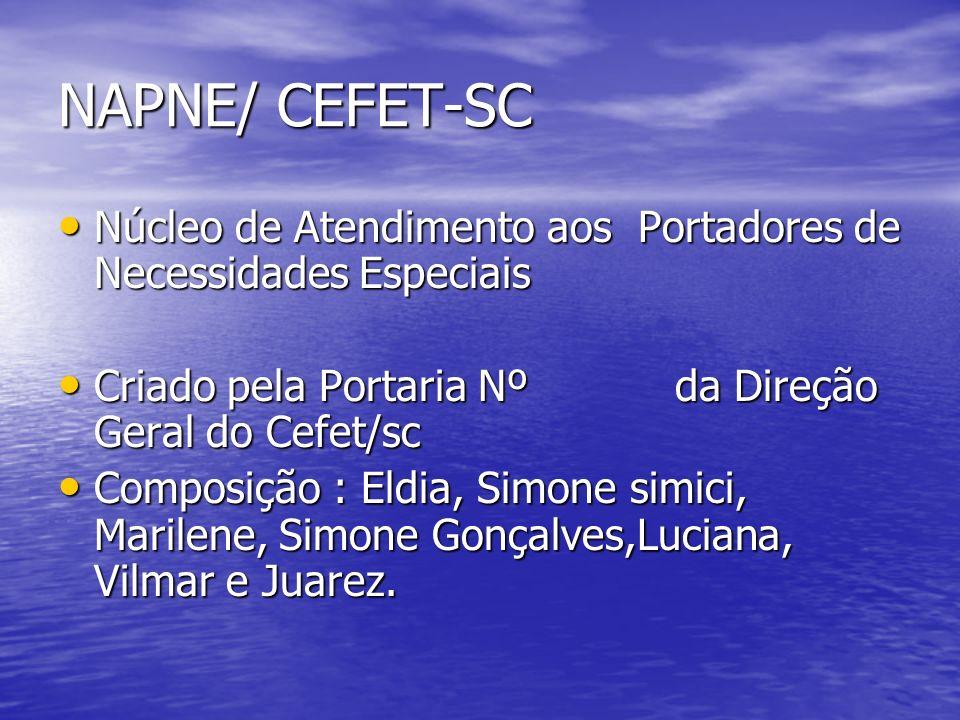 NAPNE/ CEFET-SC Núcleo de Atendimento aos Portadores de Necessidades Especiais. Criado pela Portaria Nº da Direção Geral do Cefet/sc.