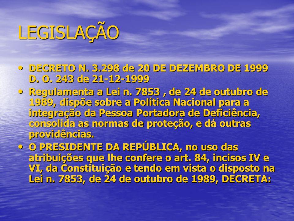 LEGISLAÇÃO DECRETO N. 3.298 de 20 DE DEZEMBRO DE 1999 D. O. 243 de 21-12-1999.