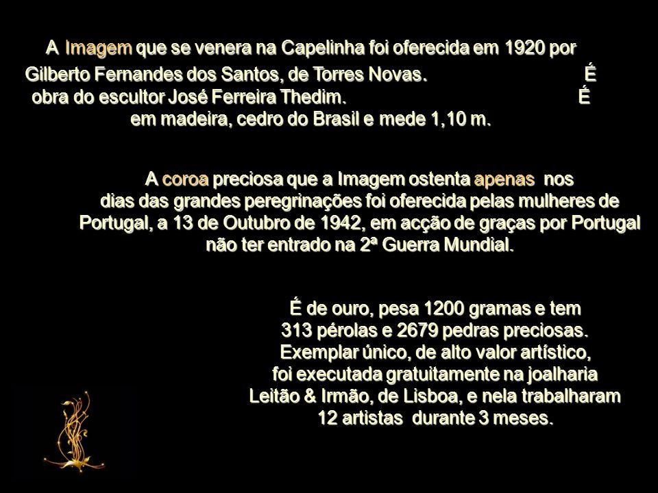 A Imagem que se venera na Capelinha foi oferecida em 1920 por Gilberto Fernandes dos Santos, de Torres Novas. É obra do escultor José Ferreira Thedim. É em madeira, cedro do Brasil e mede 1,10 m.