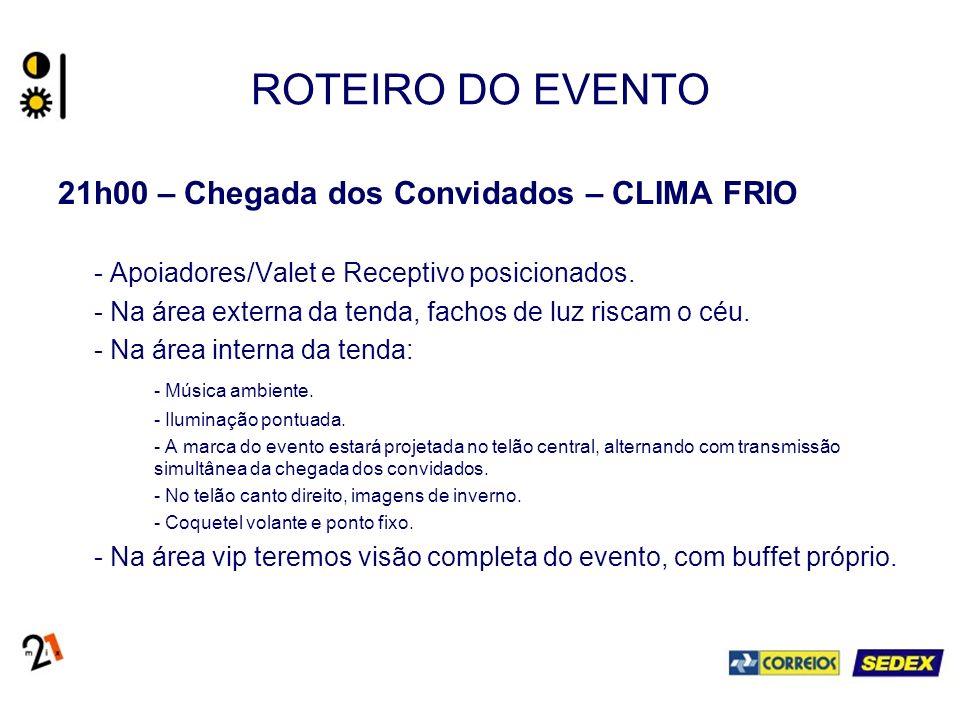 ROTEIRO DO EVENTO 21h00 – Chegada dos Convidados – CLIMA FRIO