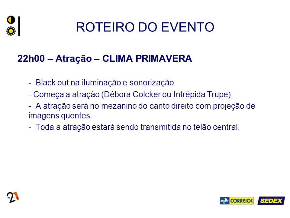 ROTEIRO DO EVENTO 22h00 – Atração – CLIMA PRIMAVERA