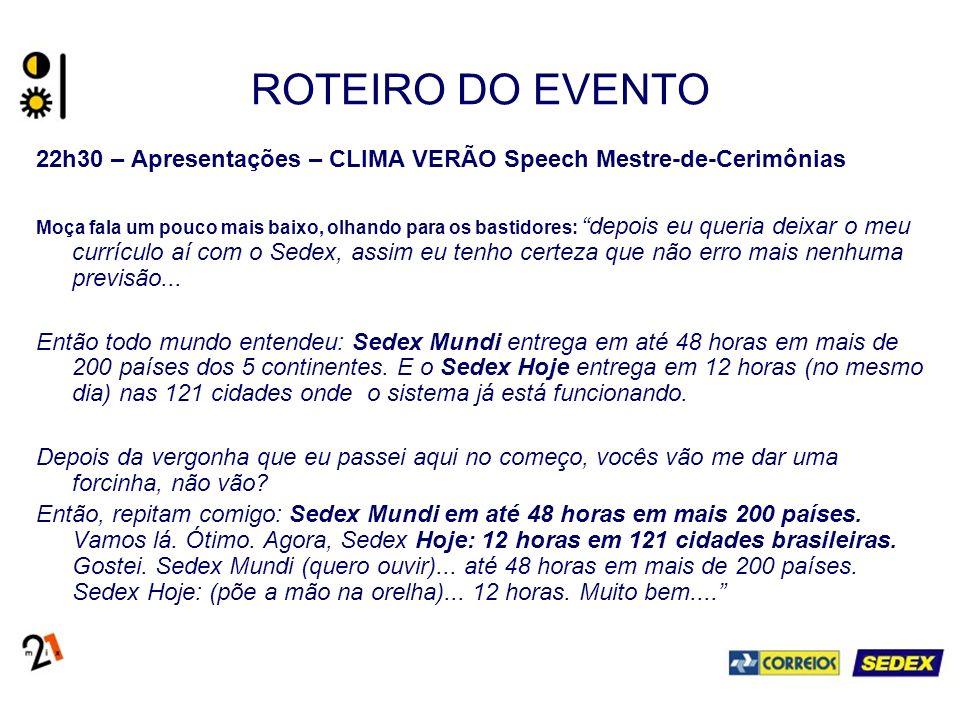 ROTEIRO DO EVENTO 22h30 – Apresentações – CLIMA VERÃO Speech Mestre-de-Cerimônias.