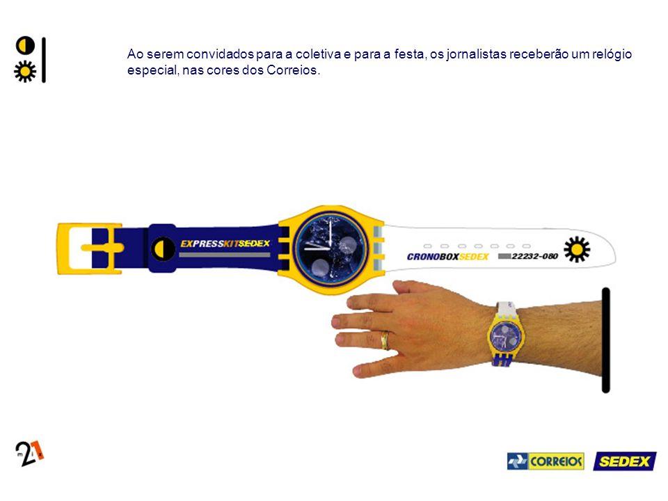 Ao serem convidados para a coletiva e para a festa, os jornalistas receberão um relógio especial, nas cores dos Correios.