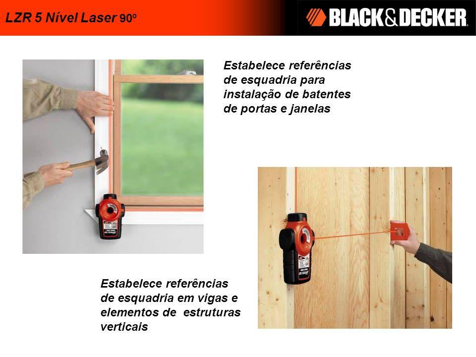 LZR 5 Nível Laser 90º Estabelece referências de esquadria para instalação de batentes de portas e janelas.