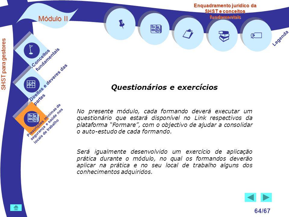        Módulo II Questionários e exercícios 64/67 