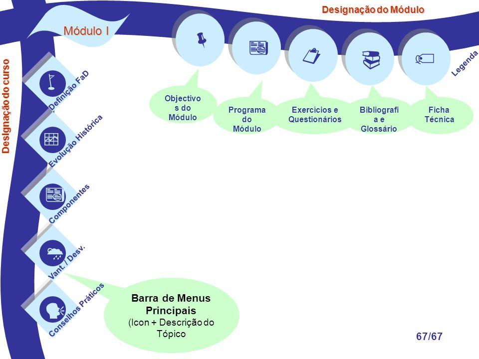          Módulo I Barra de Menus Principais 67/67