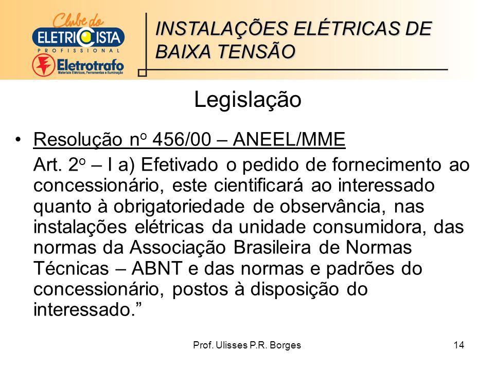 Legislação INSTALAÇÕES ELÉTRICAS DE BAIXA TENSÃO