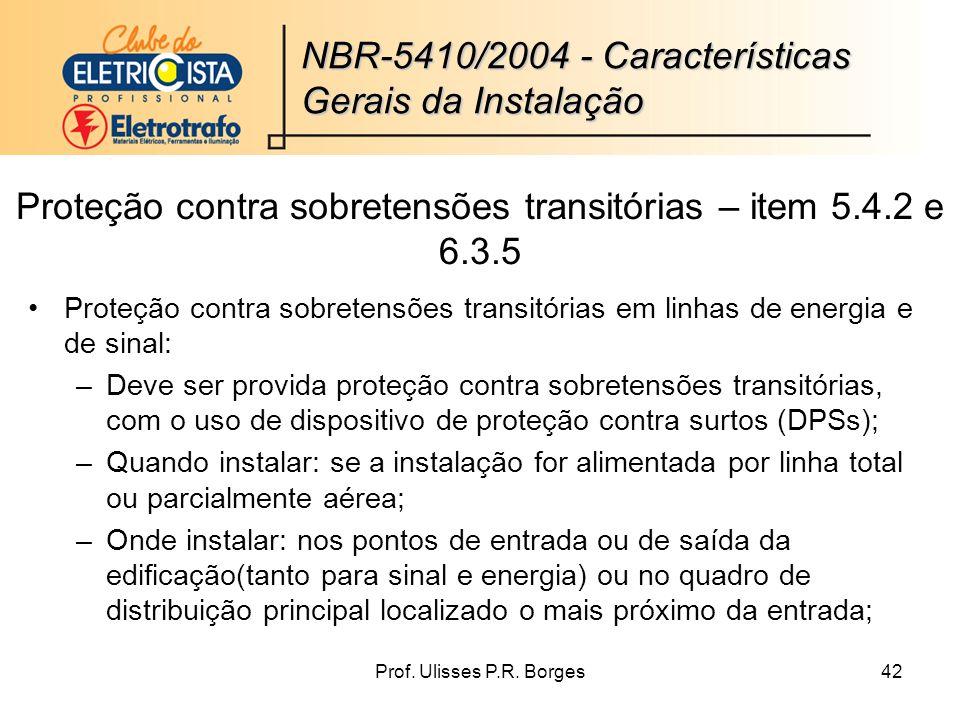 Proteção contra sobretensões transitórias – item 5.4.2 e 6.3.5