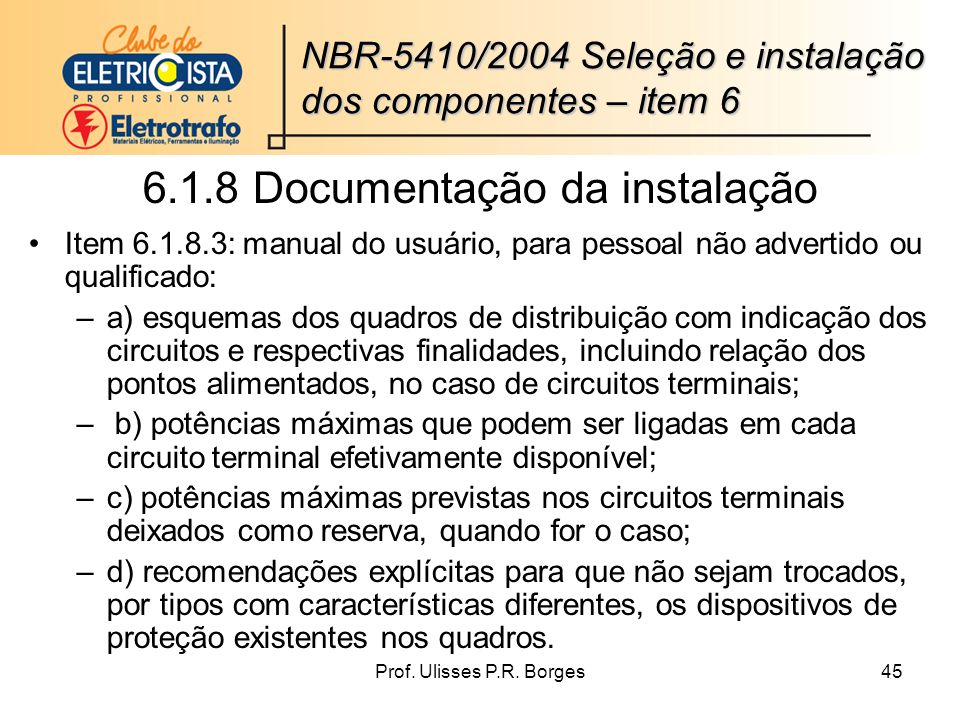 6.1.8 Documentação da instalação