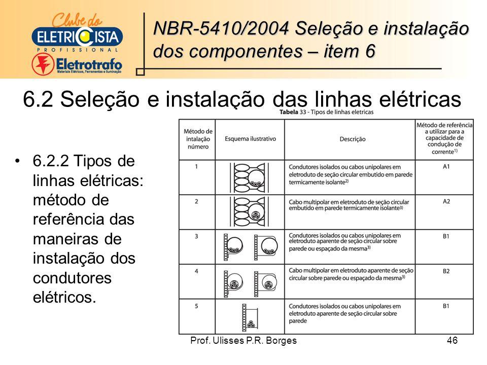 6.2 Seleção e instalação das linhas elétricas