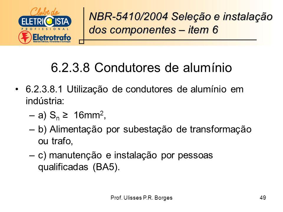 6.2.3.8 Condutores de alumínio