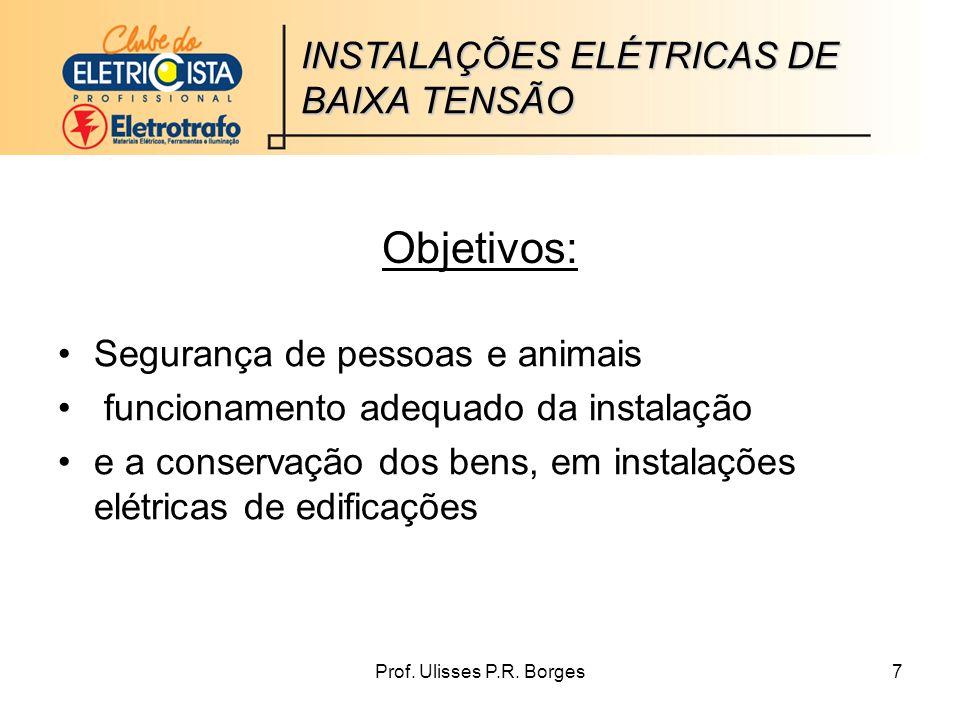 Objetivos: INSTALAÇÕES ELÉTRICAS DE BAIXA TENSÃO