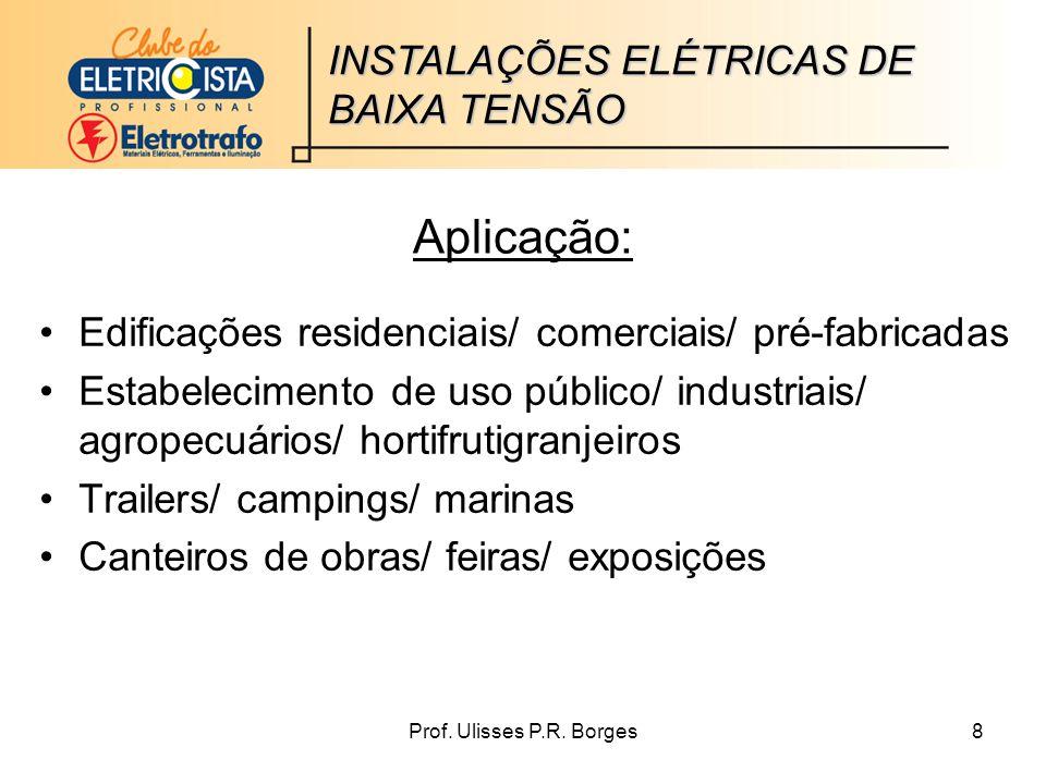Aplicação: INSTALAÇÕES ELÉTRICAS DE BAIXA TENSÃO