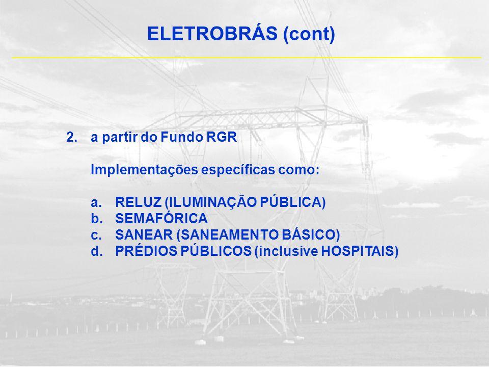 ELETROBRÁS (cont) a partir do Fundo RGR