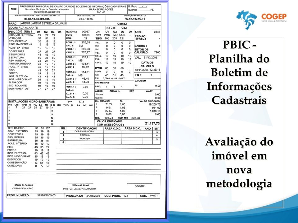 PBIC - Planilha do Boletim de Informações Cadastrais