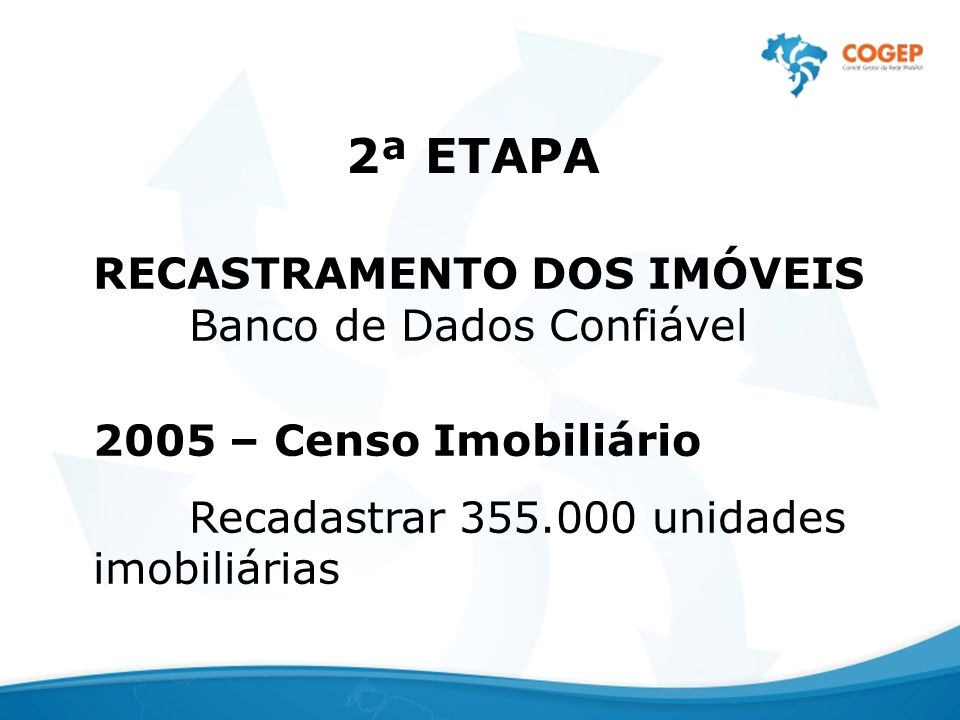 2ª ETAPA RECASTRAMENTO DOS IMÓVEIS Banco de Dados Confiável