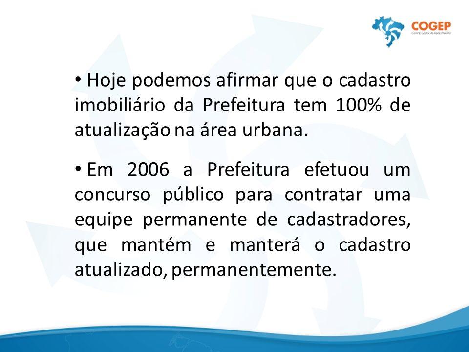 Hoje podemos afirmar que o cadastro imobiliário da Prefeitura tem 100% de atualização na área urbana.
