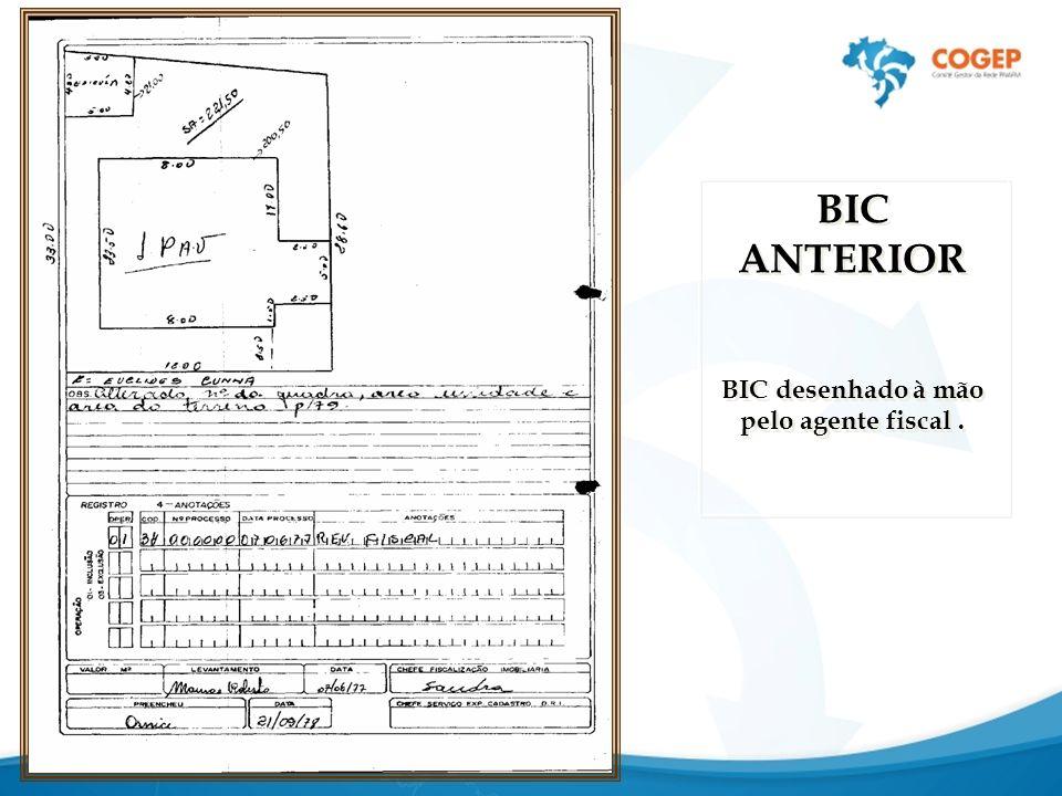 BIC desenhado à mão pelo agente fiscal .