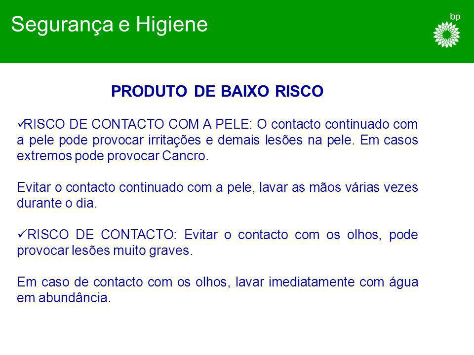 Segurança e Higiene PRODUTO DE BAIXO RISCO