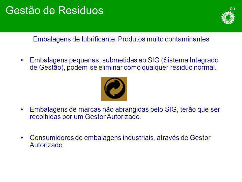 Embalagens de lubrificante: Produtos muito contaminantes