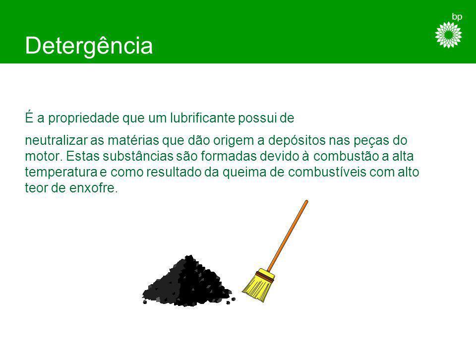 Detergência É a propriedade que um lubrificante possui de