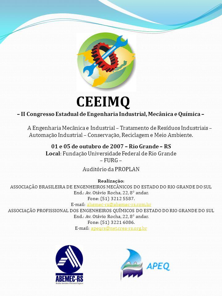 CEEIMQ – II Congresso Estadual de Engenharia Industrial, Mecânica e Química –