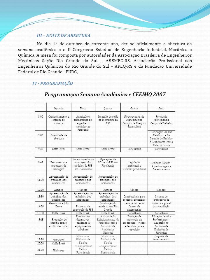 Programação Semana Acadêmica e CEEIMQ 2007