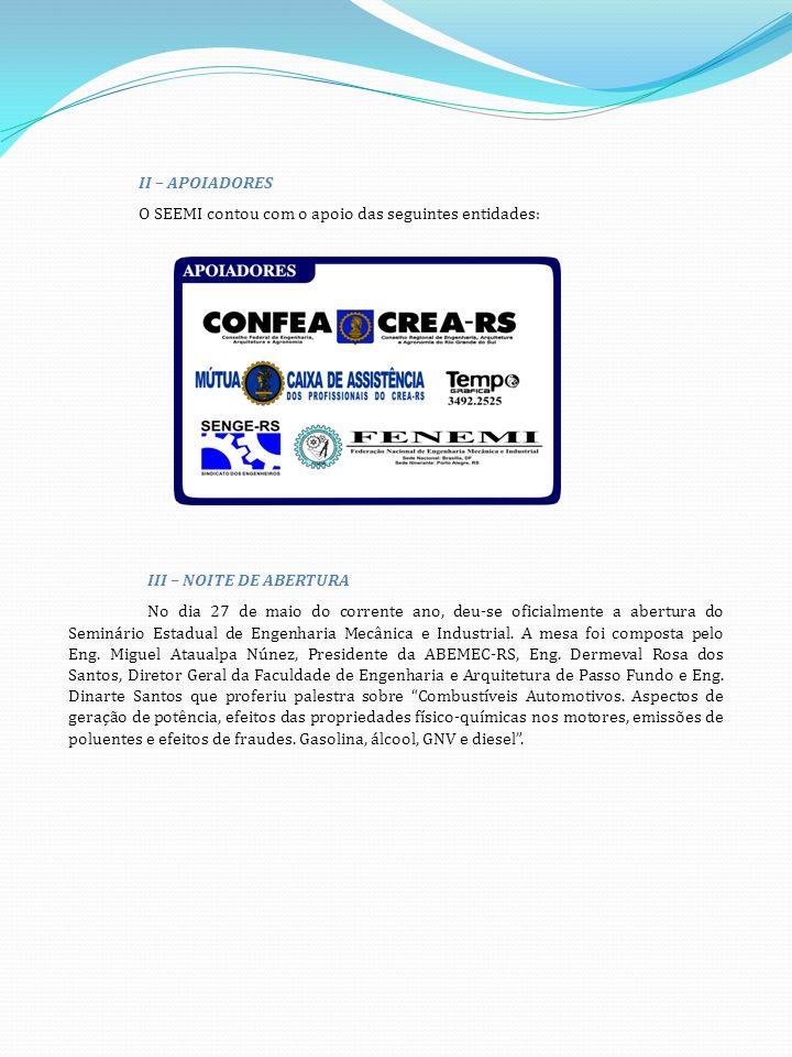II – APOIADORES O SEEMI contou com o apoio das seguintes entidades: III – NOITE DE ABERTURA.