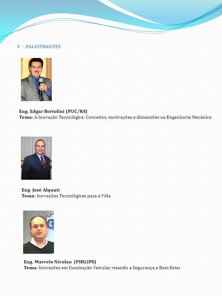 V – PALESTRANTES Eng. Edgar Bortolini (PUC/RS) Tema: A Inovação Tecnológica: Conceitos, motivações e dimensões na Engenharia Mecânica.