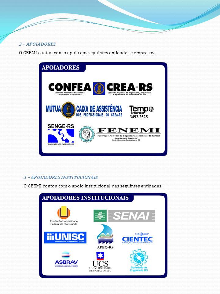 2 – APOIADORES O CEEMI contou com o apoio das seguintes entidades e empresas: 3 – APOIADORES INSTITUCIONAIS.