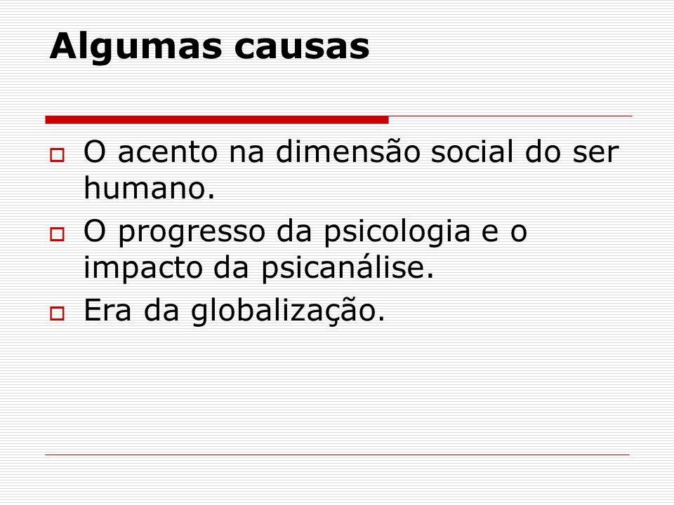 Algumas causas O acento na dimensão social do ser humano.