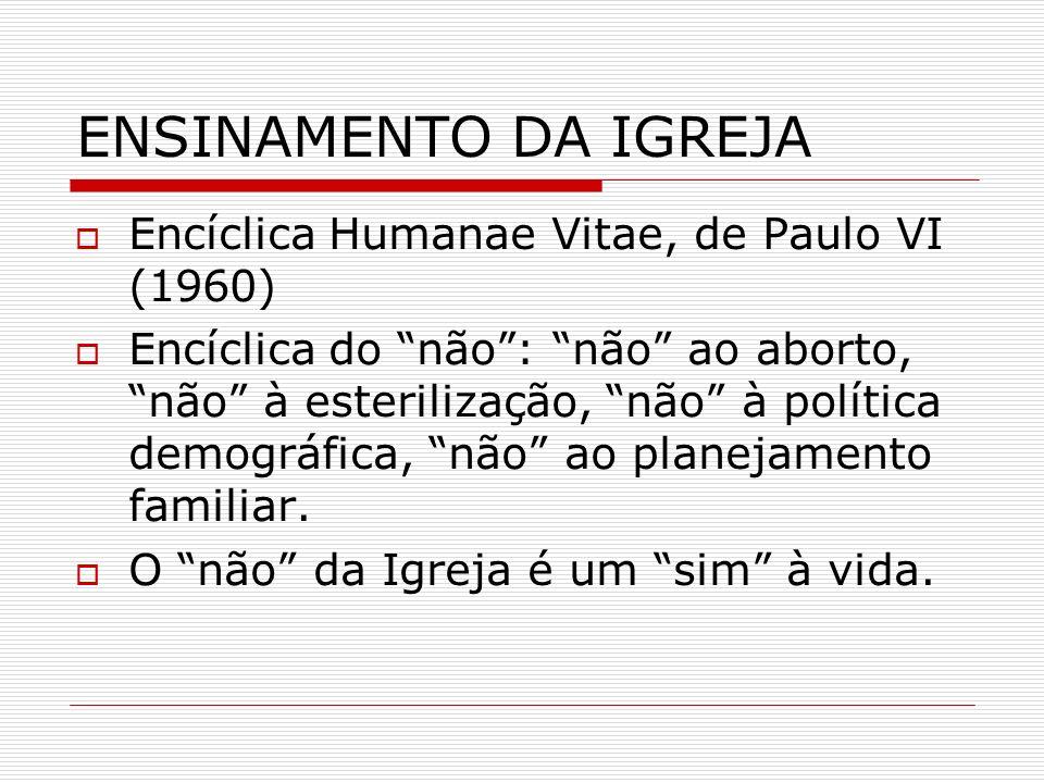 ENSINAMENTO DA IGREJA Encíclica Humanae Vitae, de Paulo VI (1960)