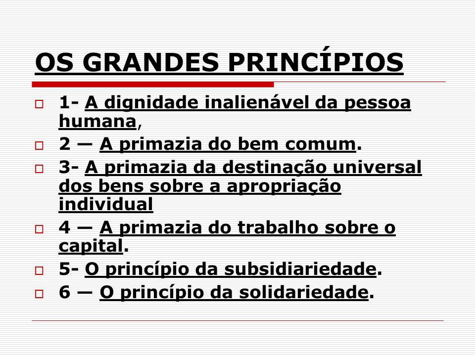 OS GRANDES PRINCÍPIOS 1- A dignidade inalienável da pessoa humana,