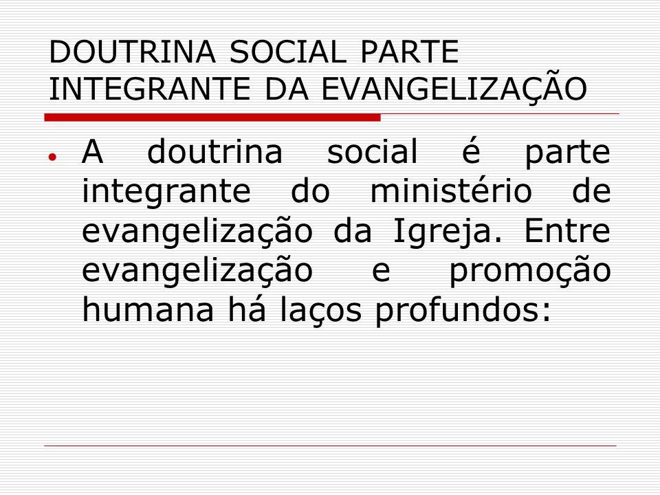 DOUTRINA SOCIAL PARTE INTEGRANTE DA EVANGELIZAÇÃO