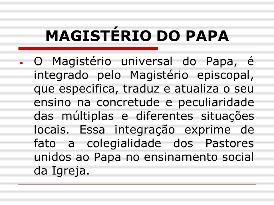 MAGISTÉRIO DO PAPA