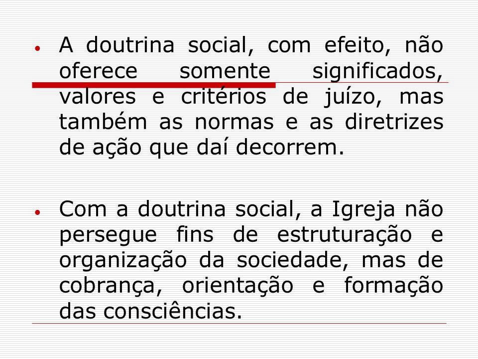 A doutrina social, com efeito, não oferece somente significados, valores e critérios de juízo, mas também as normas e as diretrizes de ação que daí decorrem.