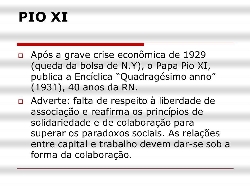 PIO XI Após a grave crise econômica de 1929 (queda da bolsa de N.Y), o Papa Pio XI, publica a Encíclica Quadragésimo anno (1931), 40 anos da RN.