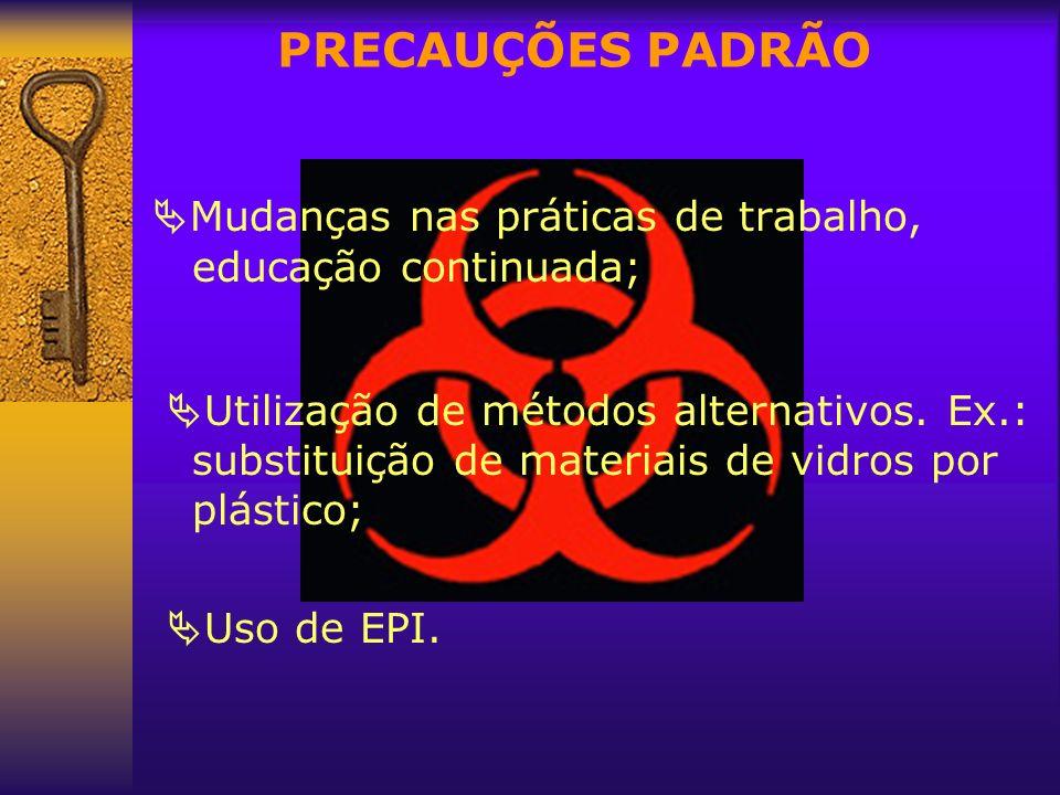 PRECAUÇÕES PADRÃO Mudanças nas práticas de trabalho, educação continuada;